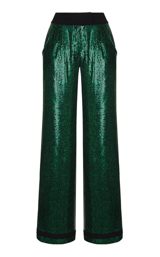 Medium rasario green sequin embroidered trousers