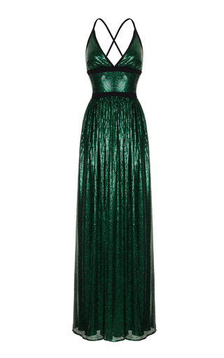 Medium rasario green sequin embroidered mesh gown