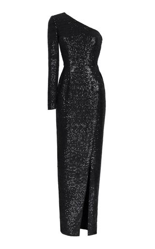 Medium rasario black sequin embroidered one shoulder gown 2