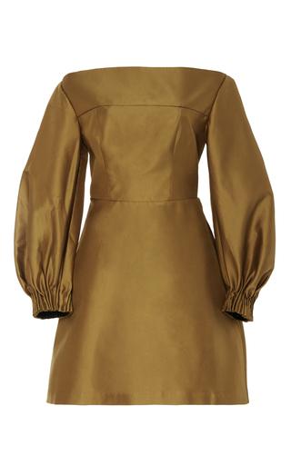 Medium acler neutral fyffe open shoulder sage dress