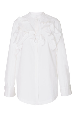 Medium acler white wilton ruffle shirt