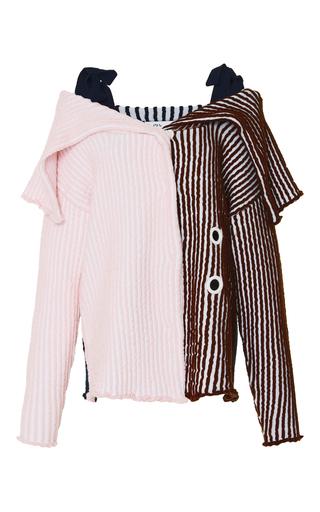 Medium ph5 stripe jana off the shoulder stitched cardigan