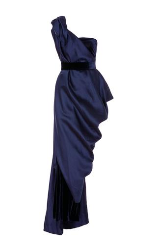Medium leal daccarett navy garza one shoulder velvet gown