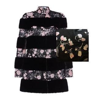 Medium giambattista valli black specialorder sleeveless fur panel coat with lace ga
