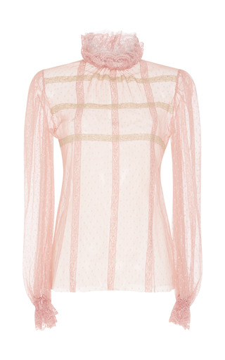 Medium luisa beccaria pink tulle and lace long sleeve blouse
