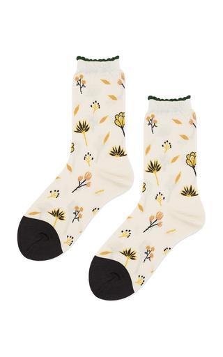 Medium hansel from basel white wildflower cotton blend socks