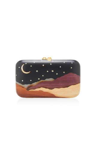Medium silvia furmanovich navy desert moon and stars embellished wood clutch