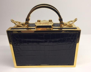 Medium mark cross black specialorder brass grace mini box brass frame alligator in black kk