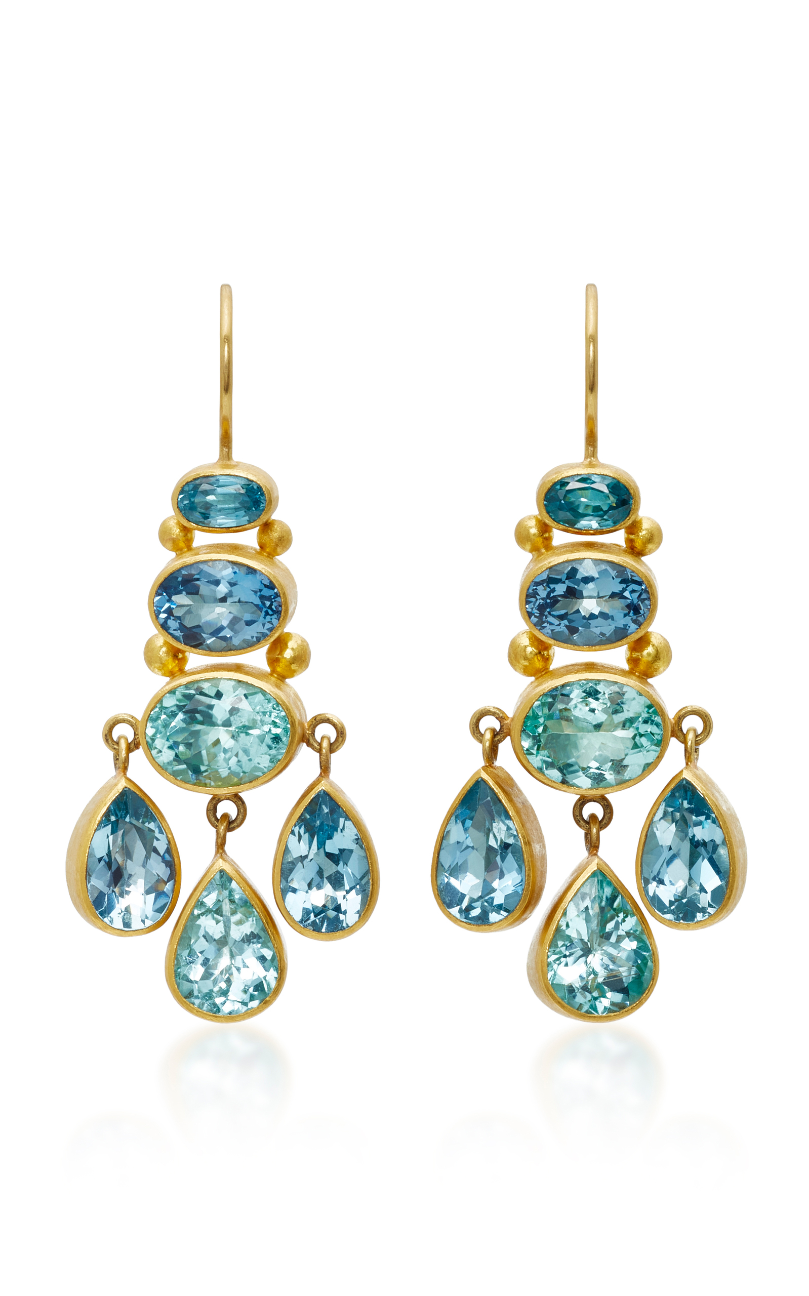 Mallary Marks Aquamarine And Paraiba Tourmaline Chandelier Earrings In Blue