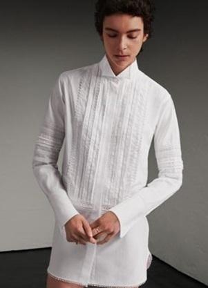 Medium burberry white white cotton shirt dress with pintucks