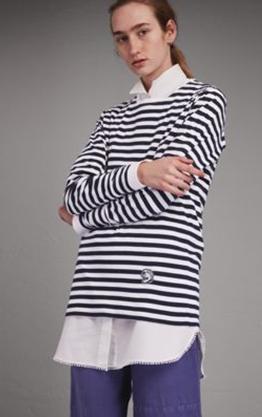Medium burberry stripe indigo striped long sleeve top