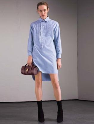 Medium burberry blue light blue long sleeve shirt dress
