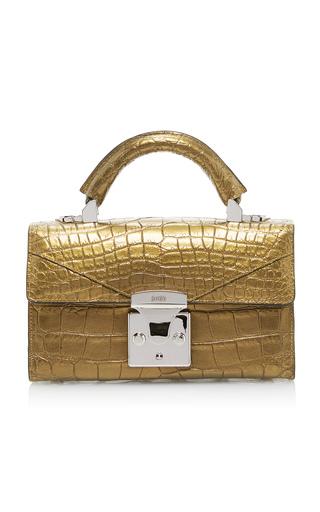 Medium stalvey gold mini alligator top handle bag