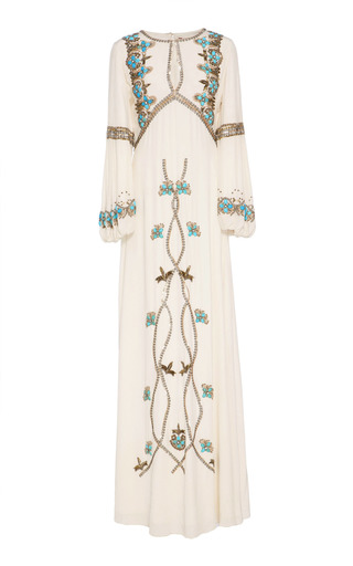 Medium figue white embroidered sophia gown