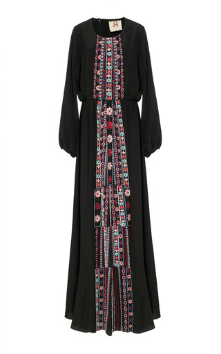 Medium figue black onyx embroidered rebecca dress