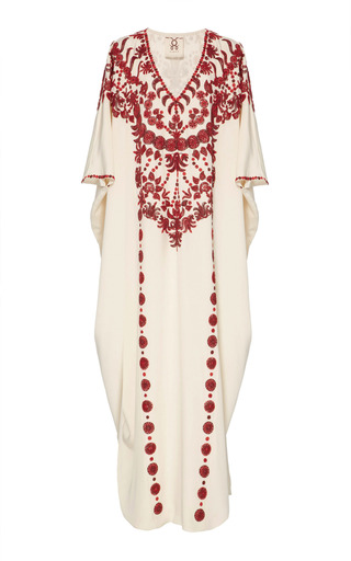 Medium figue white embroidered cassia caftan