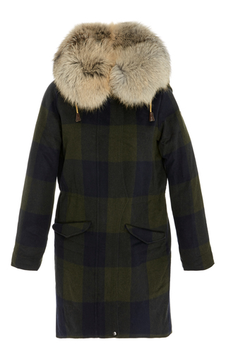 Medium post card print checkered midi coat with fur hood