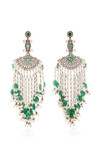 Medium sanjay kasliwal green indorussian pearl and emerald fan earrings