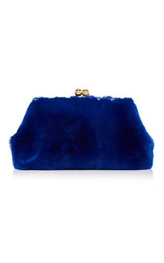 Medium blood honey navy rabbit fur clutch