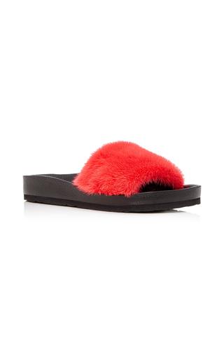 Medium lysa lash furs red mink slide