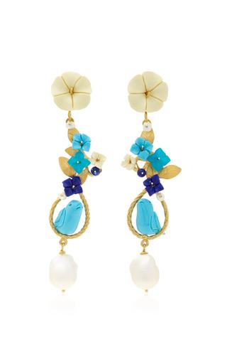 Medium of rare origin blue m o exclusive mating bird 18k gold multi stone earring