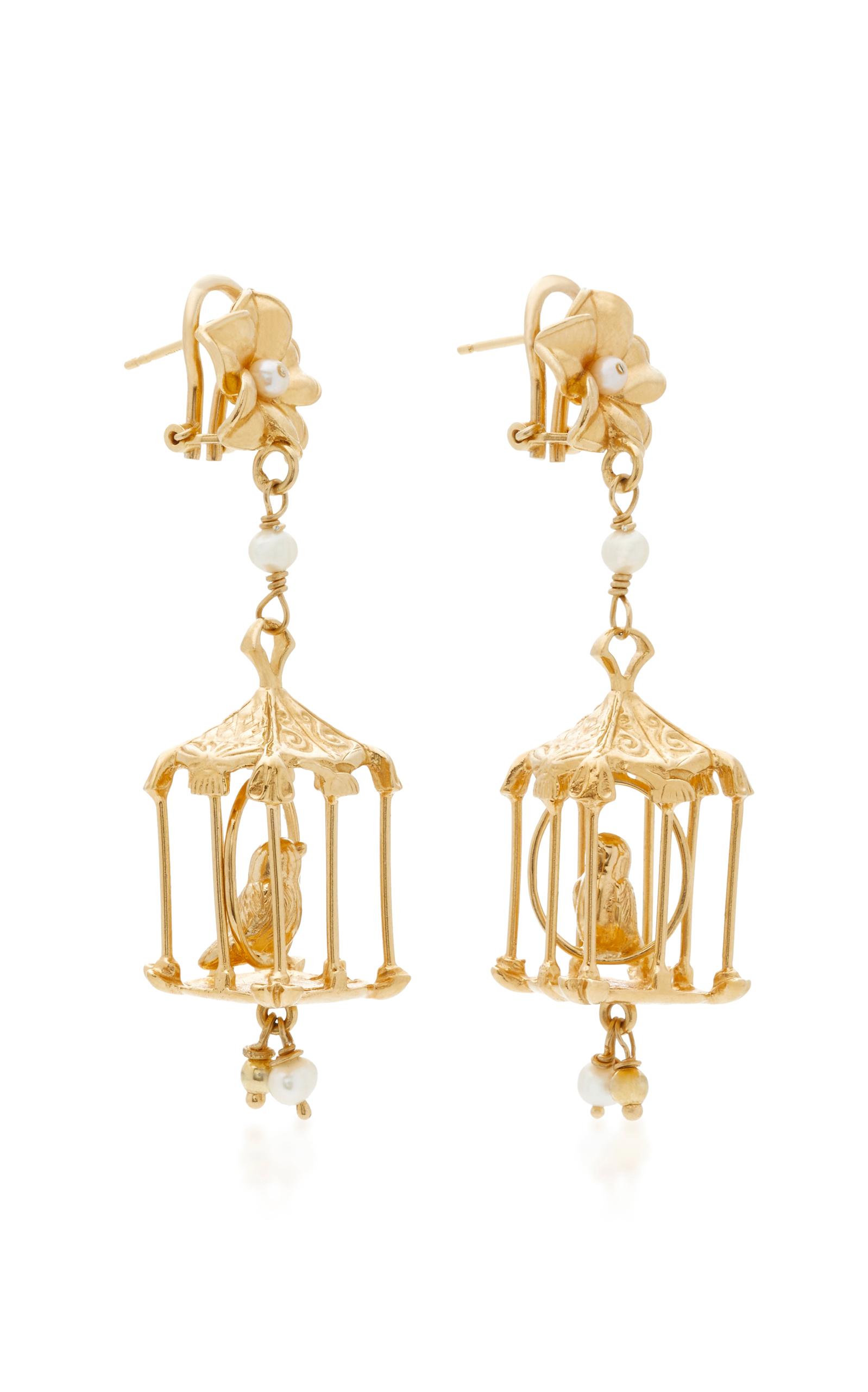 Pagoda 18K Gold Vermeil and Pearl Earrings Of Rare Origin ooZmTC2PjZ