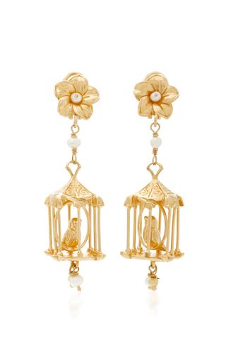 Medium of rare origin gold pagoda 18k gold vermeil and pearl earrings