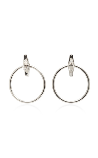 Medium shay silver 18k white gold diamond earrings