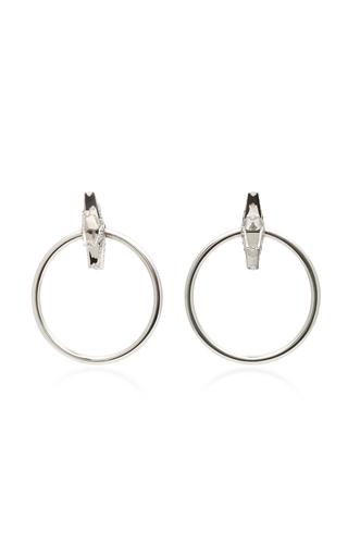 Medium shay silver 18k white gold diamond earrings