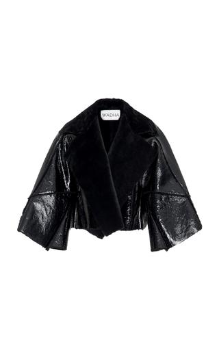 Medium wadha black oversized patent leather coat