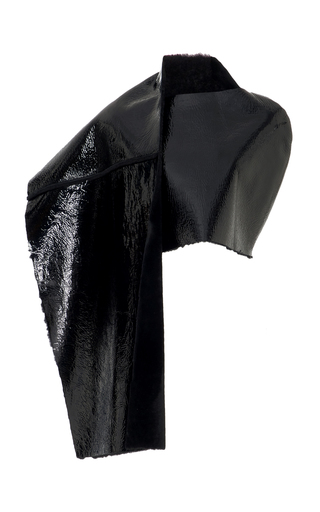 Medium wadha black patent leather wrap coat