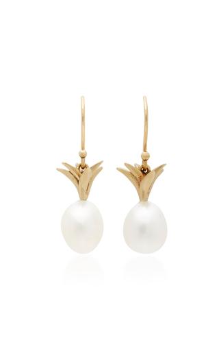 Medium annette ferdinandsen gold small pearl pineapple earrings