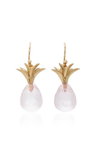 Medium annette ferdinandsen pink 18k gold rose quartz earrings