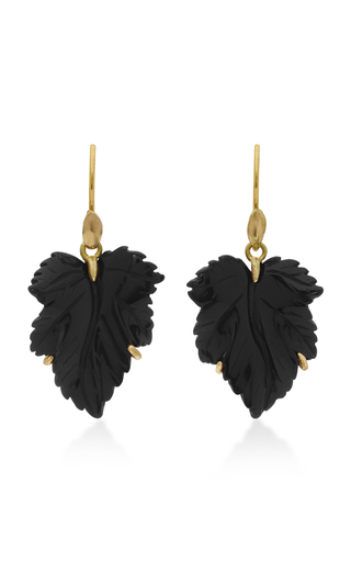 Medium annette ferdinandsen black fancy leaf 18k gold black onyx earrings
