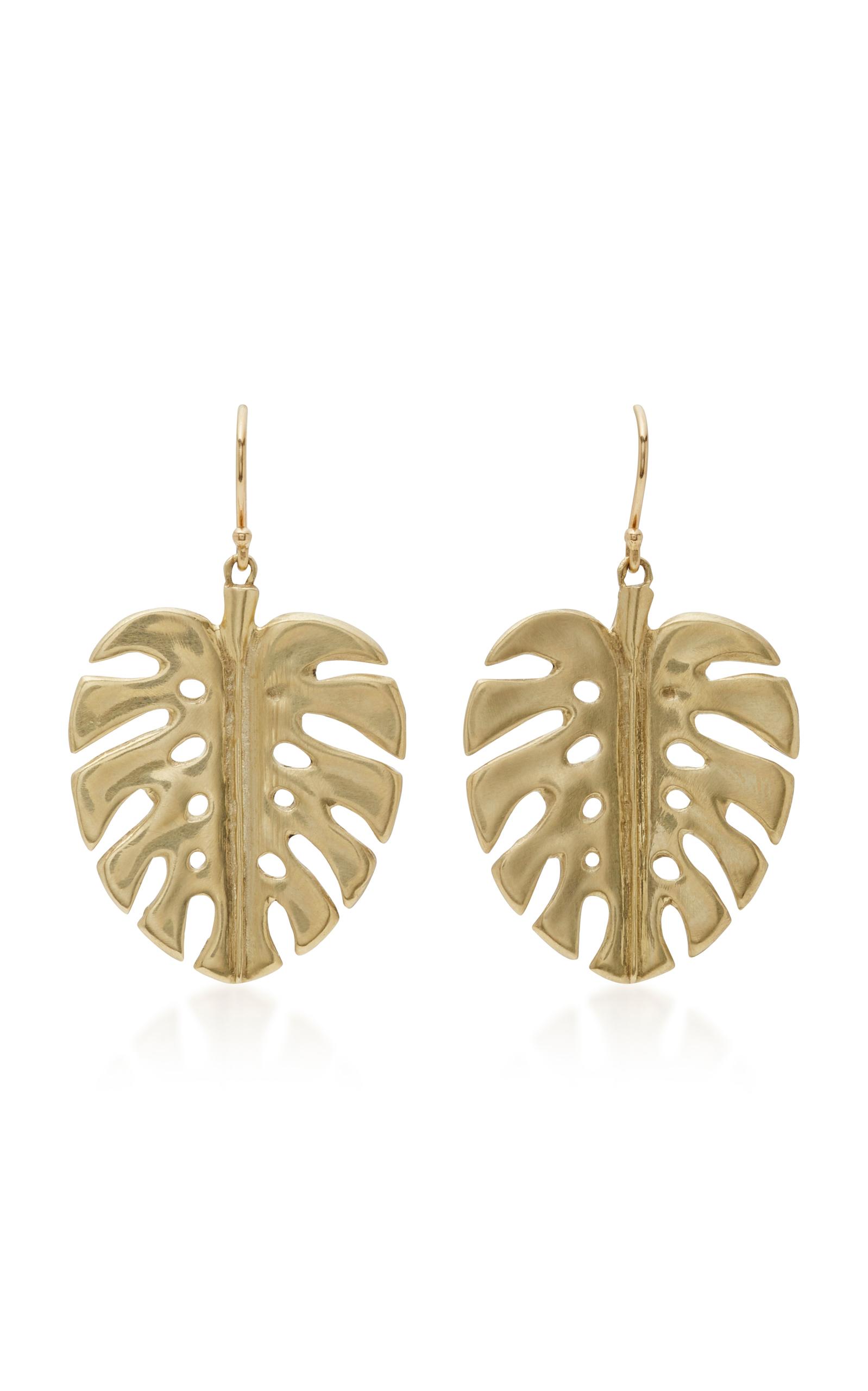 Simons Golden leaf and pearl earrings CVVHG3jcla