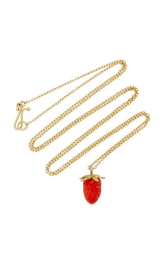Medium annette ferdinandsen red 18k gold red coral strawberry necklace