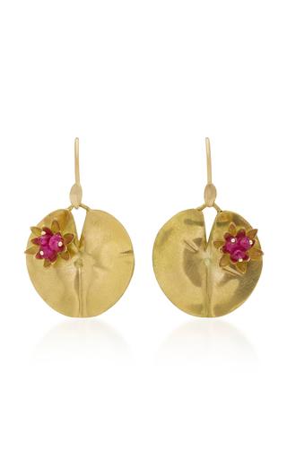 Medium annette ferdinandsen red lily pad 18k gold and ruby earrings