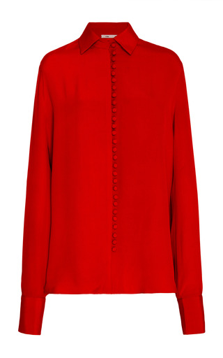 Medium bouguessa red dome buttons crepe shirt