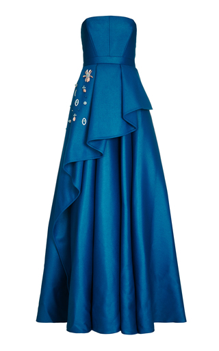 Medium safiyaa blue cascadia long strapless ruffle dress
