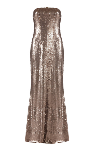 Medium safiyaa gold linneara strapless sequin dress