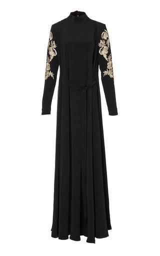 Medium marei 1998 black forsythia hand embroidered silk dress