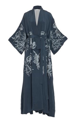 Medium marei 1998 blue laurel hand embroidered silk kimono