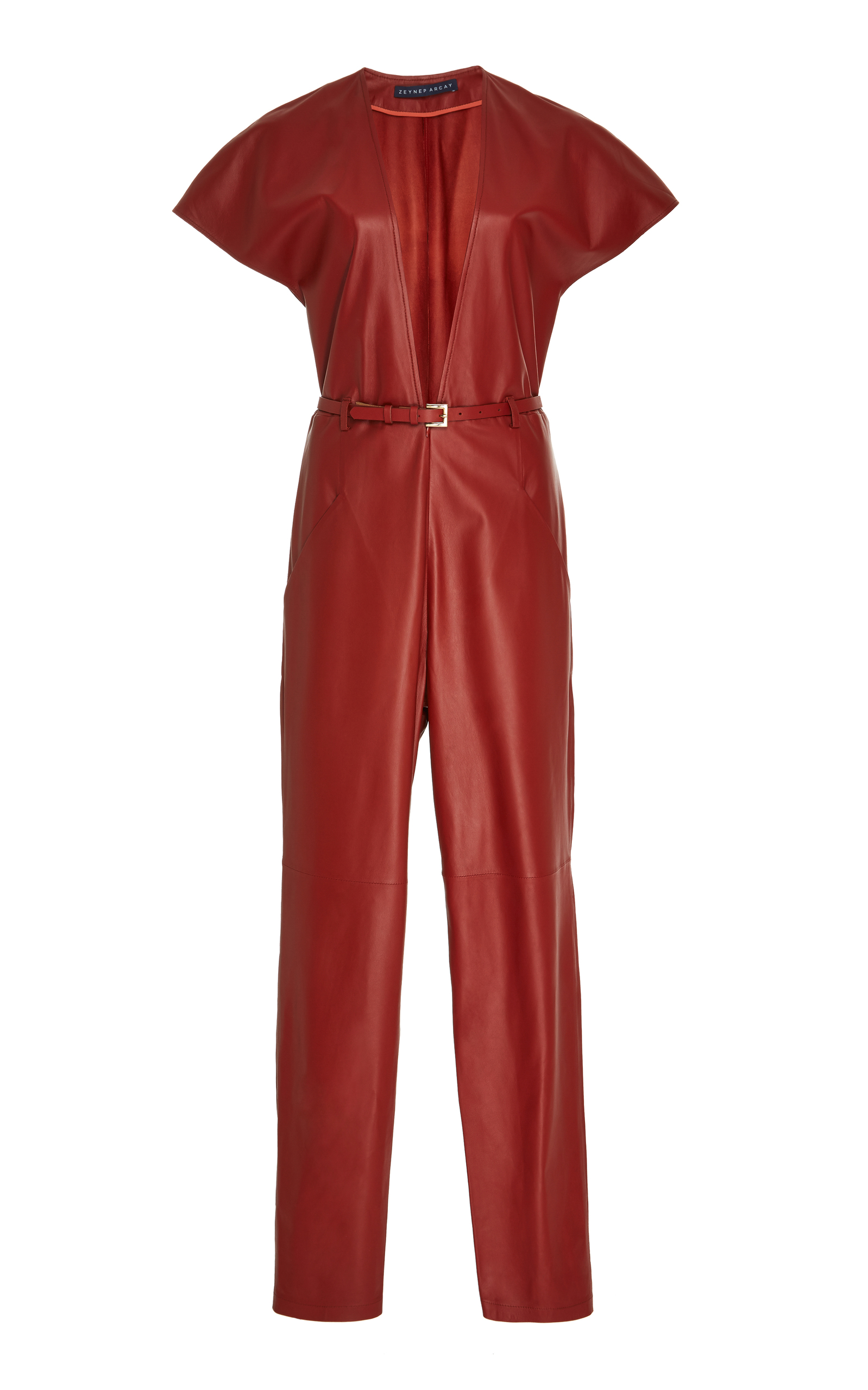 6c84d4df32 Zeynep ArçayV Neck Leather Jumpsuit. CLOSE. Loading