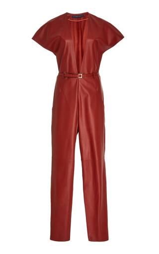 Medium zeynep arcay red v neck leather jumpsuit