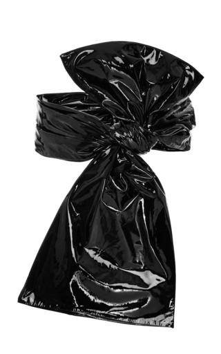 Medium zeynep arcay black patent leather bow belt