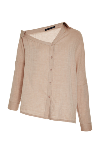 Medium zeynep arcay neutral one shoulder button up shirt