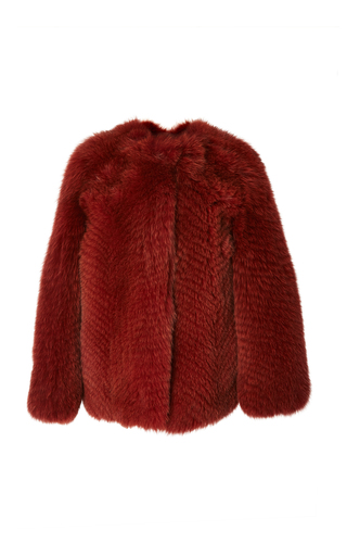 Medium zeynep arcay red collarless fox fur jacket