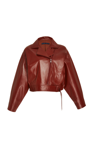 Medium zeynep arcay red cropped leather jacket