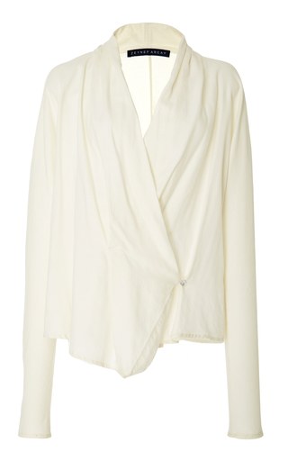 Medium zeynep arcay white draped wrap blouse