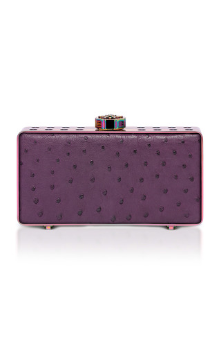 Medium bougeotte purple titanium best secret keeper clutch in purple ostrich